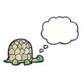 Cartoon tortoise with thought bubble. Retro cartoon with texture. Isolated on White stock illustration