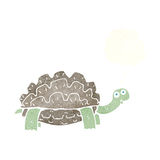 Cartoon tortoise with thought bubble stock illustration