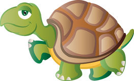 Cartoon Tortoise. Walking with calm expression royalty free illustration