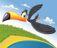 Cartoon toucan. Flying over beach in Brazil Stock Image