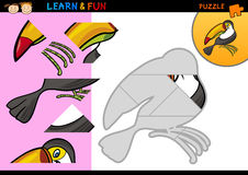 Cartoon toucan puzzle game. Cartoon Illustration of Education Puzzle Game for Preschool Children with Funny Toucan Royalty Free Stock Images