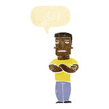 Cartoon tough guy with folded arms with speech bubble Royalty Free Stock Images