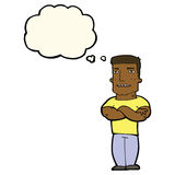 cartoon tough guy with folded arms with thought bubble Royalty Free Stock Photo