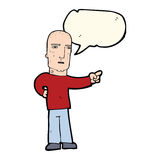 Cartoon tough guy pointing with speech bubble Stock Images
