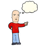 Cartoon tough guy pointing with thought bubble Stock Images