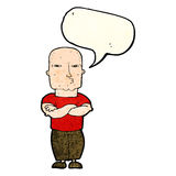 Cartoon tough guy with speech bubble Royalty Free Stock Images