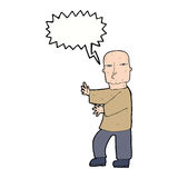 Cartoon tough man  with speech bubble Royalty Free Stock Photos