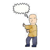 Cartoon tough man  with speech bubble Royalty Free Stock Images