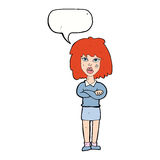 Cartoon tough woman with folded arms with speech bubble Stock Image