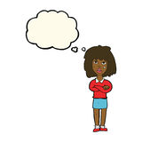 Cartoon tough woman with folded arms with thought bubble Royalty Free Stock Photo