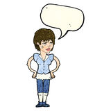 Cartoon tough woman with hands on hips with speech bubble Stock Photo