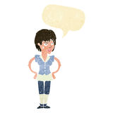 Cartoon tough woman with hands on hips with speech bubble Royalty Free Stock Image