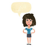 Cartoon tough woman with speech bubble Royalty Free Stock Photography