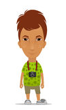 Cartoon tourist with a camera Royalty Free Stock Photo