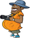 Cartoon tourist with a camera. Isolated on white Royalty Free Stock Photos
