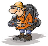 Cartoon Tourist character. Cartoonillustration of a male tourist character Stock Photography