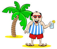 Cartoon tourist with drink on holiday Royalty Free Stock Photography