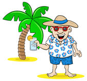 Cartoon tourist with drink on holiday Royalty Free Stock Images
