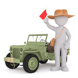 Cartoon tourist with flag standing next to jeep Stock Photography