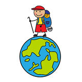 Cartoon tourist going up the globe Royalty Free Stock Photo