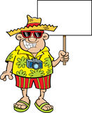 Cartoon tourist holding a sign. Royalty Free Stock Images