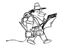 Cartoon tourist with own tv and map. In hand. Funny hand drawn vector royalty free illustration