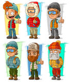 Cartoon tourist traveler with backpack characters vector set Stock Photo
