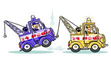 Cartoon tow truck towing a tow truck Stock Photo