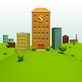 Cartoon town. Background with bank Royalty Free Stock Photo