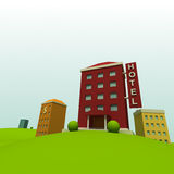 Cartoon town. Background with hotel Royalty Free Stock Images