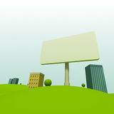Cartoon town. Background with billboard Stock Photos