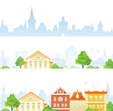Cartoon town banners Royalty Free Stock Images