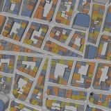 Cartoon town bird eye view urban background Stock Photography
