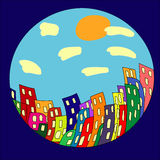 Cartoon town in the circle Stock Photo