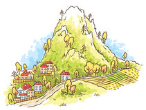 Cartoon town at the foot of the mountain Royalty Free Stock Image