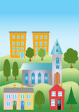 A cartoon town. With houses,church, and appartment blocks Royalty Free Stock Photo