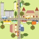 Cartoon town map. Town map. Cartoon vector illustration Royalty Free Stock Photos