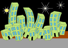 Cartoon Town Night Skyline Royalty Free Stock Photo