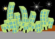 Cartoon Town Night Skyline Royalty Free Stock Photo