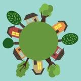 Cartoon Town On the Round Earth. Vector Illustrati Stock Image