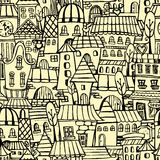Cartoon town seamless pattern. Cartoon vector fairy tale drawing houses seamless pattern Royalty Free Stock Photography