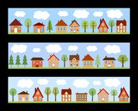 Cartoon town. Small town street view with cartoon homes and trees. European village street banners Royalty Free Stock Photography