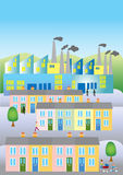 Cartoon town. A cartoon town with terraced houses and smokey factories Stock Photo