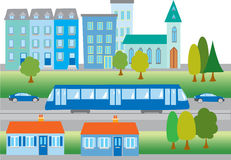 Cartoon town with tram. A cartoon town with buildings, church;trees; and a tram Stock Images