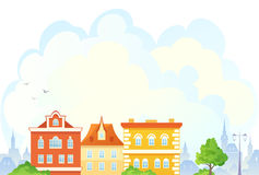 Cartoon townscape. Illustration of a summer townscape Stock Image