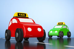 Cartoon Toy Cars with Taxi Sign Stock Photo