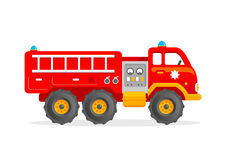 Cartoon Toy Firetruck Vector Illustration. Red Firefighter Car. Funny Firefighter Car. Vector Clipart for Kids Stock Photos