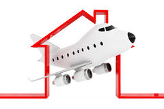 Cartoon Toy Jet Airplane in Abstract Airport or Hangar Building. Shape on a white background. 3d Rendering vector illustration