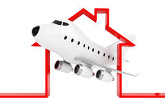 Cartoon Toy Jet Airplane in Abstract Airport or Hangar Building. Shape on a white background. 3d Rendering stock illustration