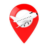 Cartoon Toy Jet Airplane with Red Map Target Pin. 3d Rendering. Cartoon Toy Jet Airplane with Red Map Target Pin on a white background. 3d Rendering Royalty Free Stock Image